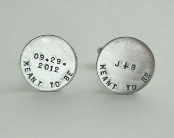 Meant to Be Custom Cuff Links - Wedding Gift Groom Anniversary Gift Personalized Cuff Links Custom Cufflinks