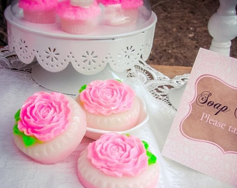 Rose Cookie Soap Favors, Soap Bar, Rose Soap, Soap Favors, Shower Favors, Wedding Favors, Birthday Party, Tea Party, Handmade