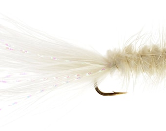 Fishing Flies - 3 Bead Head Woolly Bugger - White - Size 14, 16, 18