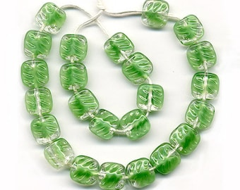 Vintage Green Givre Beads 9mm Textured Glass Squares 25 Pcs.