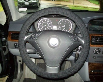 Custom Black Cotton Twill Steering Wheel Cover