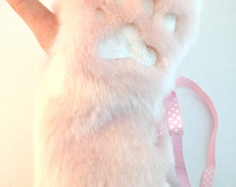 Half Paw Gloves - Pink and White