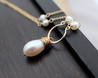 Pearl Bridal Necklace , Gold Fresh Water Pearl Beaded Hoop Necklace , Rose Gold , Sterling Silver , Wedding Jewelry