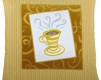 "Tall Coffee Cup ""Framed"" Decorative Pillow 17 x 17 inches"