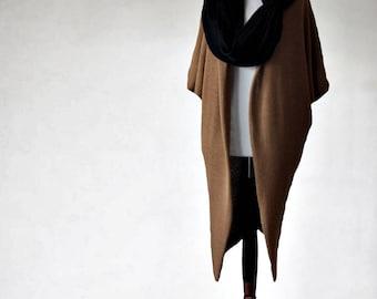Wool cardigan, long cardigan, wool sweater, knit sweater, camel sweater, camel cardigan, womens sweater, womens cardigan, neckwarmer sweater