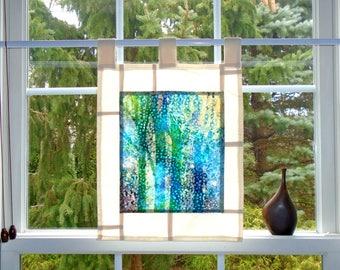 Forest Sunglow ~ Bleached Art Batik Pojagi Patchwork Window Treatment ~ boho dorm ~ bohemian cafe ~ boudoir curtain