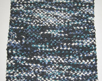 """Twined Rug 28""""X 20"""" Black/White/Teal Green and Blue Upcycled Recycled Materials Rag"""
