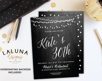 30th Birthday Invitation, Chalkboard Birthday Invite, Adult Birthday Invitation, Vintage lights invitation, Printable Birthday Invite
