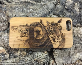 Lion Tiger Bear iPhone 6 Plus or iPhone 6S Plus Case. Bamboo Wood Cover Spirit Animal. Best Friends. Viral Video. iMakeTheCase iPhone 6 Case