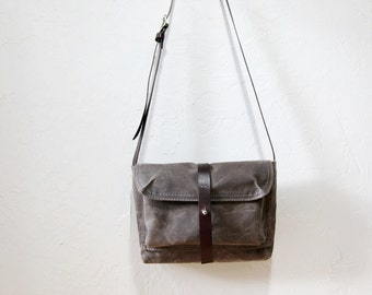 Waxed Canvas and Leather Crossbody Bag // The Small Satchel in Stone // Weather Resistant