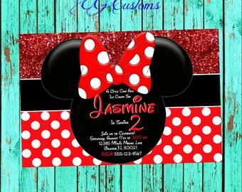 Red Minnie Mouse Birthday Invitation, Minnie Mouse Invitation, Invitation, Printable Invitation, Polka Dot, Red Minnie, Minnie Mouse Invite