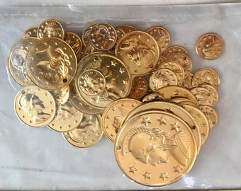 Gold Coin Charms, Gold Coin Embellishments, Disc Charms, 72 Metal Coin Pendants, Bead Supplies, Jewelry Making, DIY Crafts, Sewing Supplies