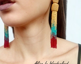 Gold tassel earrings beaded earrings teal tassel earrings long tassel earrings red and gold earrings red tassel earrings bohemian earrings