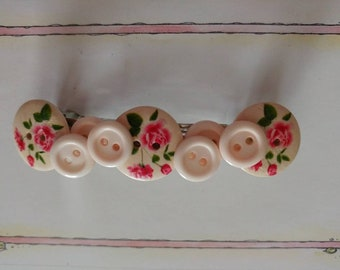 Pink Barrette, Roses Barrette, Button Barrettes, One of a Kind, Barrettes, Mothers Day Gift, Vintage Looking Barrettes, Gifts for Her