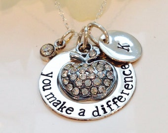 Teachers Necklace -Hand Stamped -Personalized Jewelry- Sterling Silvler-Teacher Gift-Teacher Necklace-Teach-You make a difference