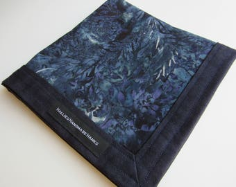 EDC Hank Blue Gray Purple Batik Fabric Handmade Hank Everyday Carry Pocket Dump Hank Mens Handkerchief Gift for Him Gift for Her