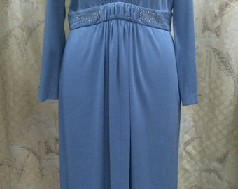 1970s Light Blue Maxi Dress with Rhinestone Wasit Band, Umba for Parues Feinstein