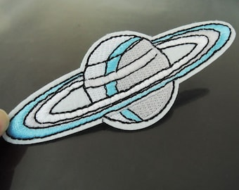Iron on Patch - Saturn Patch Planet Patches Spacer Universe Patches Large Iron on Applique Embroidered Patch Sew On Patch