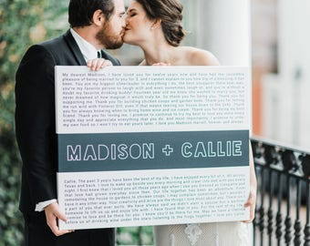 valentines day wedding - custom wedding vows canvas - minimalist wedding - gift for husband - gift for wife - wedding guest book alternative