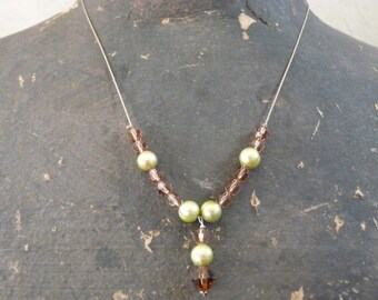 Simple But Elegant Pearl and Crystal Necklace