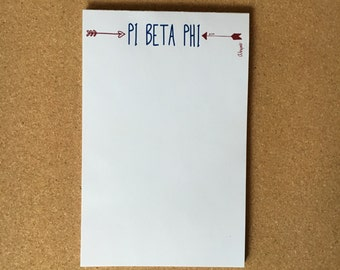 Pi Beta Phi Arrows Officially Licensed Notepad