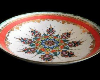 Vintage Arta Austria Bowl - hand painted enamel on metal - gold, green, blue, orange, home decor, candy dish, candy bowl, mid century design