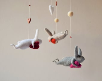 Needle Felted Bunny Mobile, Nursery Mobile, Baby Mobile, Baby Crib Mobile, White Bunny Mobile
