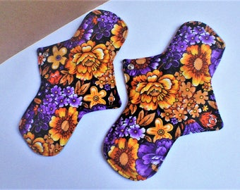 """Reusable Cloth Pads * Womens Panty Liners * Cloth Manstrual Pads * Flowers * 9.4""""long"""