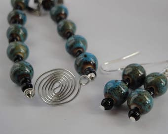 Spiral, Aqua and Honey Bracelet and Earring Set
