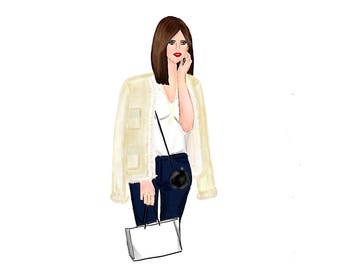 Shopping Girl Digital Illustration-4 different sizes available-Shopping bag can be editable.