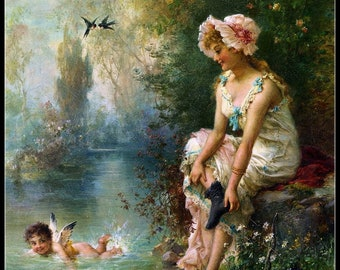 Counted Cross Stitch Patterns Needlework for embroidery - Angels in swimming