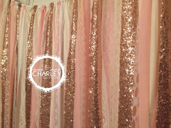 Rose Gold Sequin Garland Fabric Backdrop With Lace Wedding