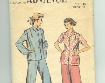 PAJAMA PATTERN, Advance # 5877, Early 1950's. Size 16, Bust 34, Vintage Sewing Supply