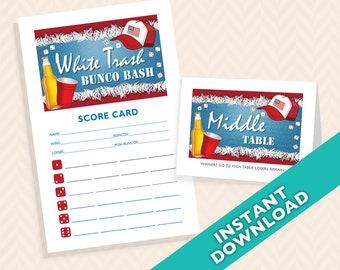 White Trash Bunco Bash -  Bunco Scorecard and Table Card Set (a.k.a. Bunko, score card, score sheet)