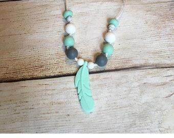 Feather Baby Teething necklace. Sensory necklace. Silicone necklace. Baby teether. Autism necklaces