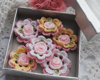 Crochet flower appliques with pink satin rose. Romantic pink roses to decorate your crafts and scrapbooking. Handmade craft supplies.