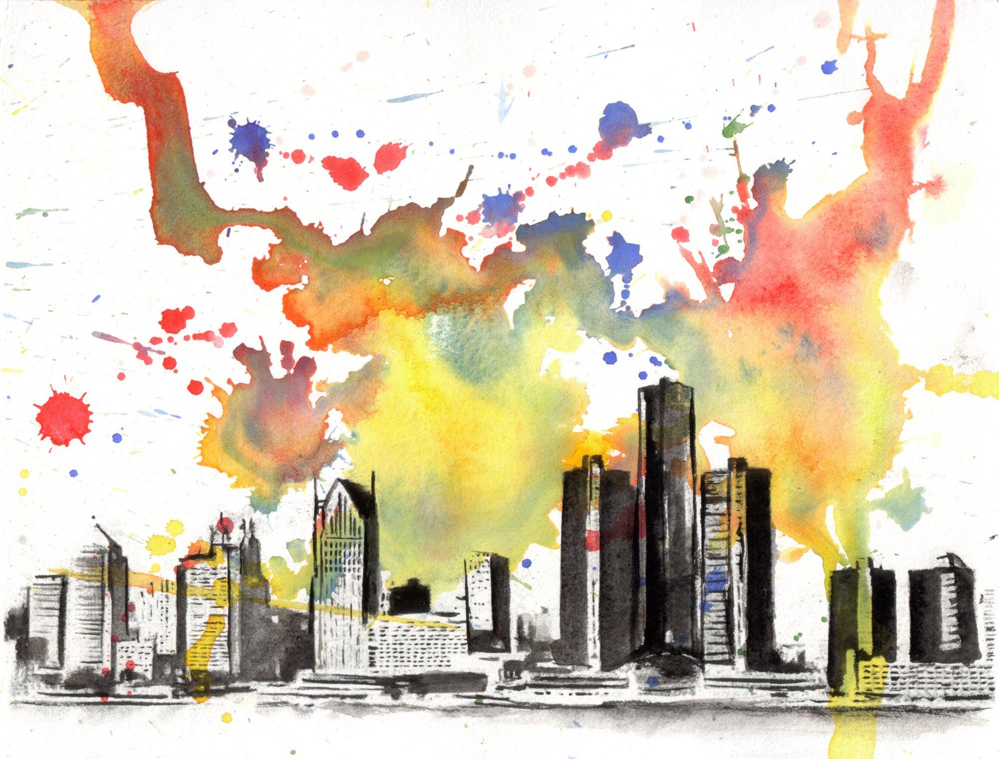 Detroit Skyline Art Print From Original Watercolor Painting