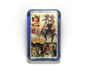 3D Grease Movie Glass Paperweight - John Travolta - Olivia Newton-John - you're the one that I want Glass Paperweight
