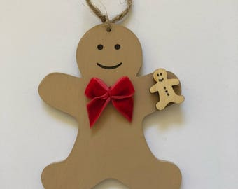 Handmade Wooden Gingerbread Man with Red Velvet Bow Hanging Decoration/Bauble