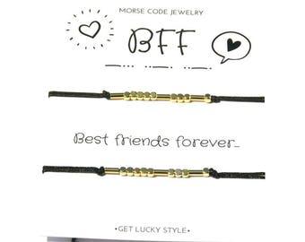Morse code bracelet best friend Clothing gift for bff gift for bff bracelet for 2 Morse code bracelet bff Birthday gift for best friend