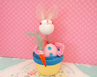 Vintage Easter Bunny Candy Container Bobble Head Bunny with Carrot Japan