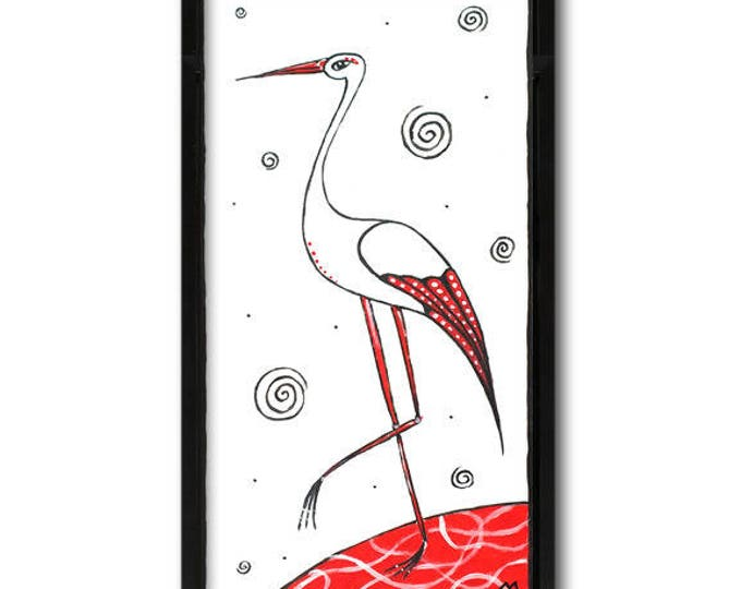 White and red stork - graphic acrylic painting on paper