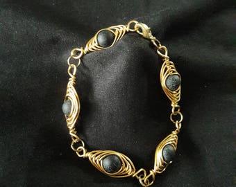 Woven Herringbone Style Bracelet Brass