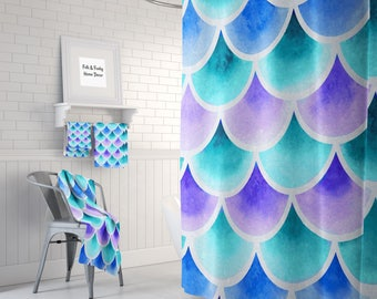 Mermaid Scales Shower Curtain Turquoise Blue Purple,  Bath Mat and Towels Available
