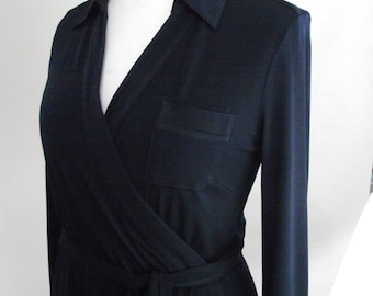 Vintage Planet navy faux wrap dress 90s wrap style navy blue Dress size small medium