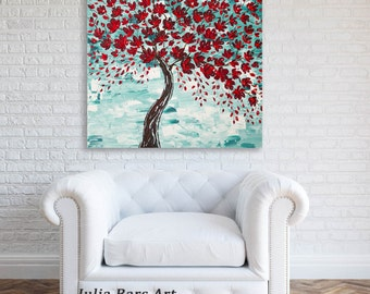 Cherry Blossom Art Print on Canvas, Tree Art Print Giclee Print Red Tree Painting Red Print Paper Prints Turquoise Painting Colorful Artwork