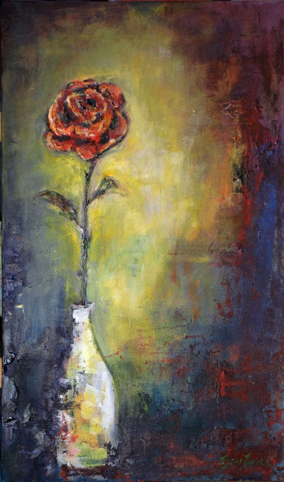 ORIGINAL Painting Rose and Vase Modern Artwork 24x14 Real and Expressive artwork by BenWill