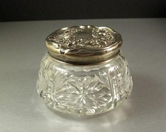 Art Nouveau Dresser Jar Sterling Repousse Lid Deep Cut Glass