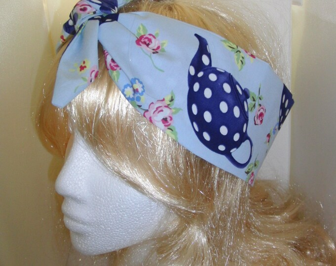 50s Vtg Blue Tea Pots Head Scarf Wired / Not - Retro Sweets Hair Tie Kawaii
