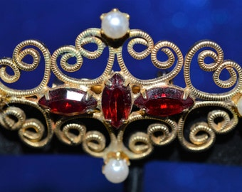 Vintage Red Rhinestone Gold Brooch  ships in 24 Hrs